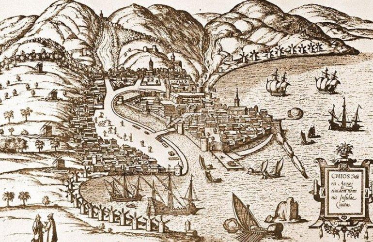 Γκραβούρα του λιμανιού της Χίου με το Φρούριο του 1566
