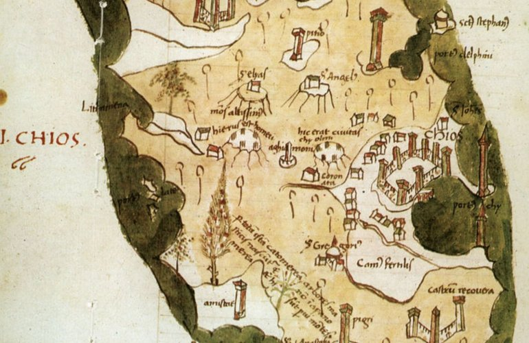Χάρτης της Χίου του 1420 από τον  Cristoforo Buondelmonti. Βρίσκεται στη Γεννάδειο Βιβλιοθήκη.