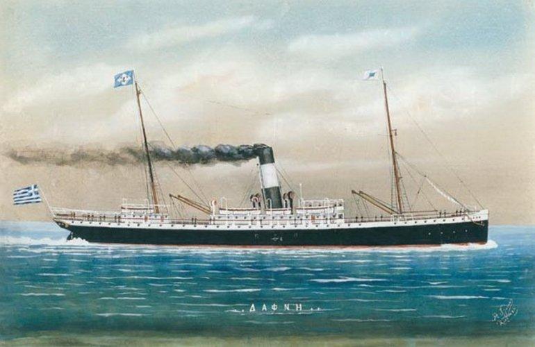 Το ατμόπλοιο «ΔΑΦΝΗ» σε ζωγραφικό πίνακα του Αριστείδη Γλύκα.