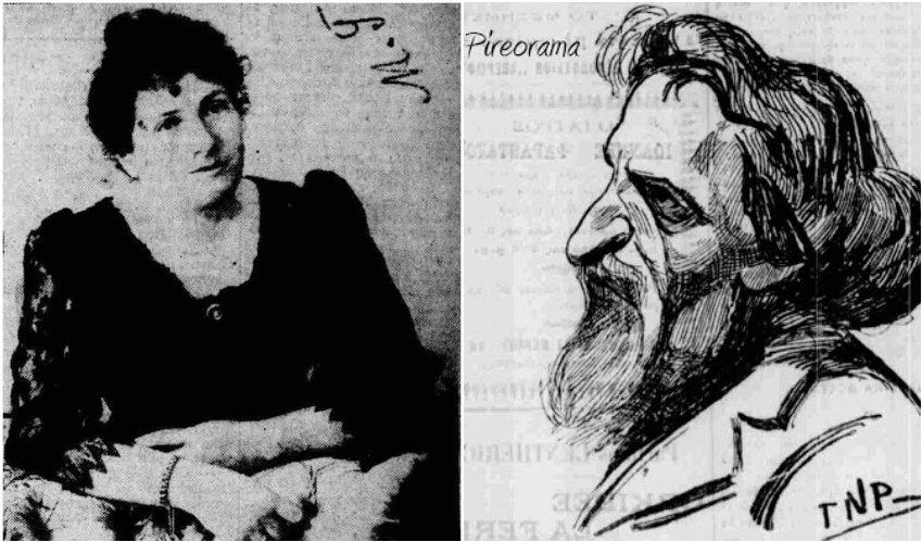Η Μαρία Κωνσταντινίδου-Σουρή, σύντροφος και μέντορας του σατυρικού δημιουργού - Γνωστότατο σκίτσο του ποιητή, που τον καθιστά αναγνωρίσιμο έως σήμερα
