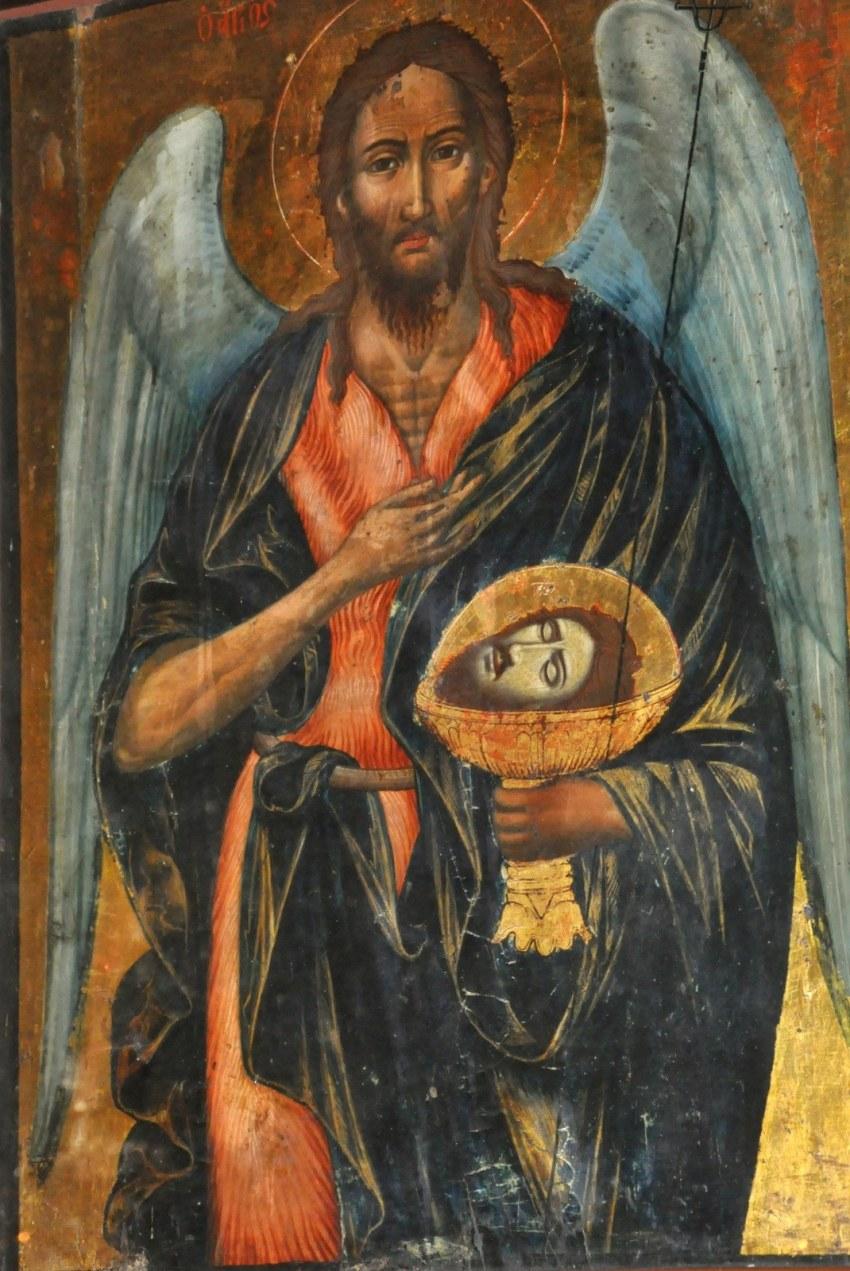 Άγιος Ιωάννης ο Πρόδρομος και για την ακρίβεια ο Αρχάγγελος Μιχαήλ με την κεφαλή του αποκεφαλισθέντος Αγίου.