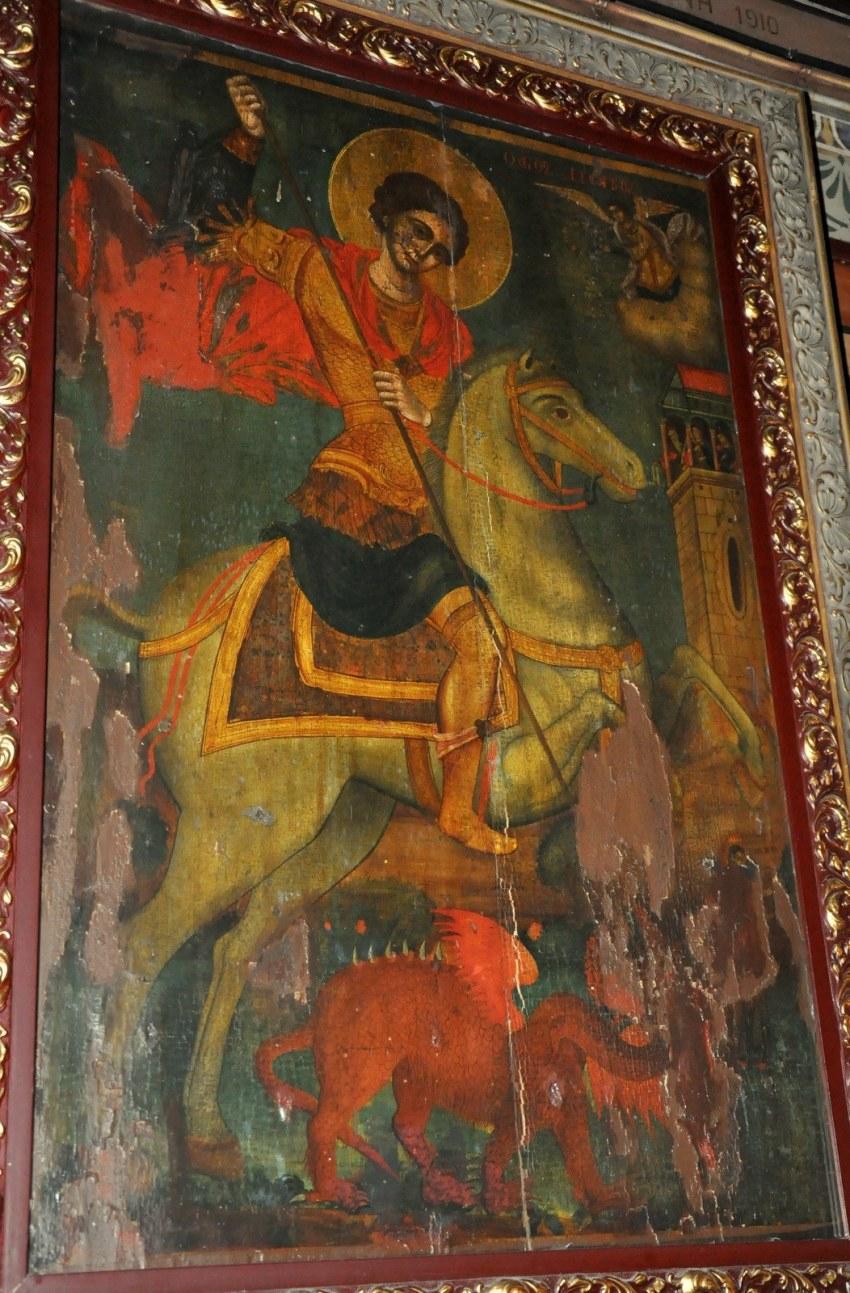 1.Ο Άγιος Γεώργιος. Παρατηρεί κανείς τον χρωματικό πλούτο των ενδυμάτων των ιστορημένων Αγίων.