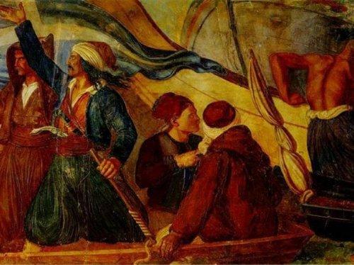Στο πλάι του ο Κ. Κανάρης κατά την πυρπόληση της τουρκικής ναυαρχίδας στη Χίο