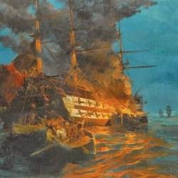 Η πυρπόληση της Τουρκικής Ναυαρχίδας, ζωγραφικός πίνακας του Κων. Βολανάκη.