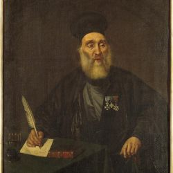 Ο Νεόφυτος Βάμβας σε Προσωπογραφία, έργο του Διονυσίου Τσόκου. Εκτίθεται στο Μουσείο Μπενάκη.