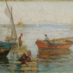 «Βάρκες στο Τουρκολίμανο» από τα πλέον γνωστά του έργα, αγορασμένο από το Υπ. Παιδείας